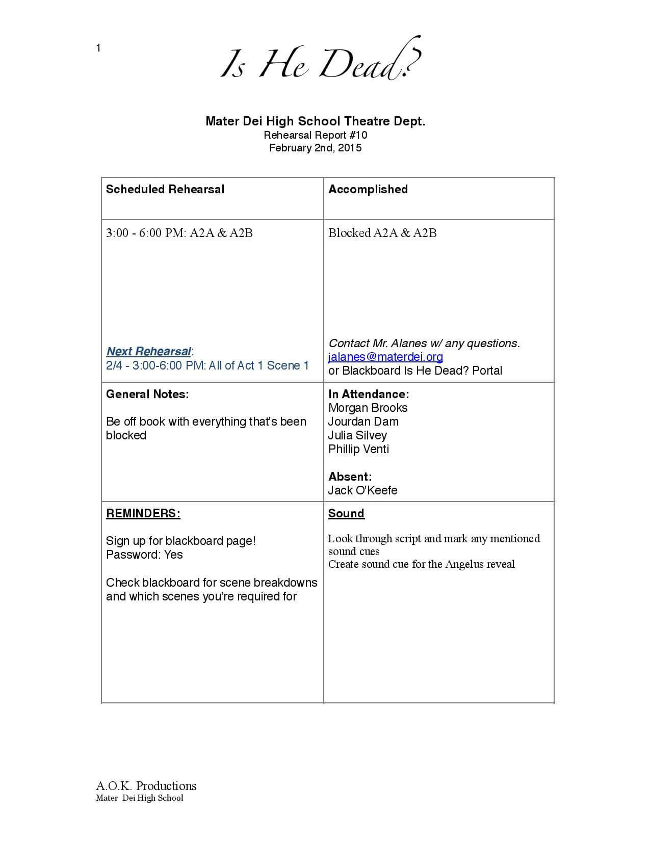 Page 1 Of Is He Dead? Rehearsal Report Example   Little Shop With Rehearsal Report Template
