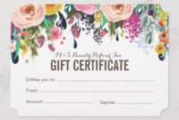 Painted Floral Salon Gift Certificate Template | Gift intended for Salon Gift Certificate Template
