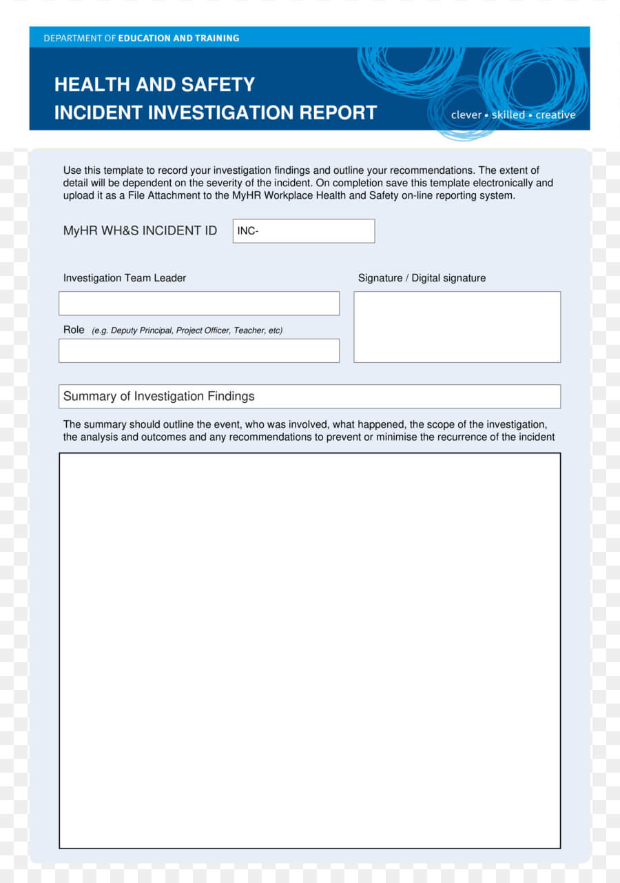 Paper Background Regarding Health And Safety Incident Report Form Template