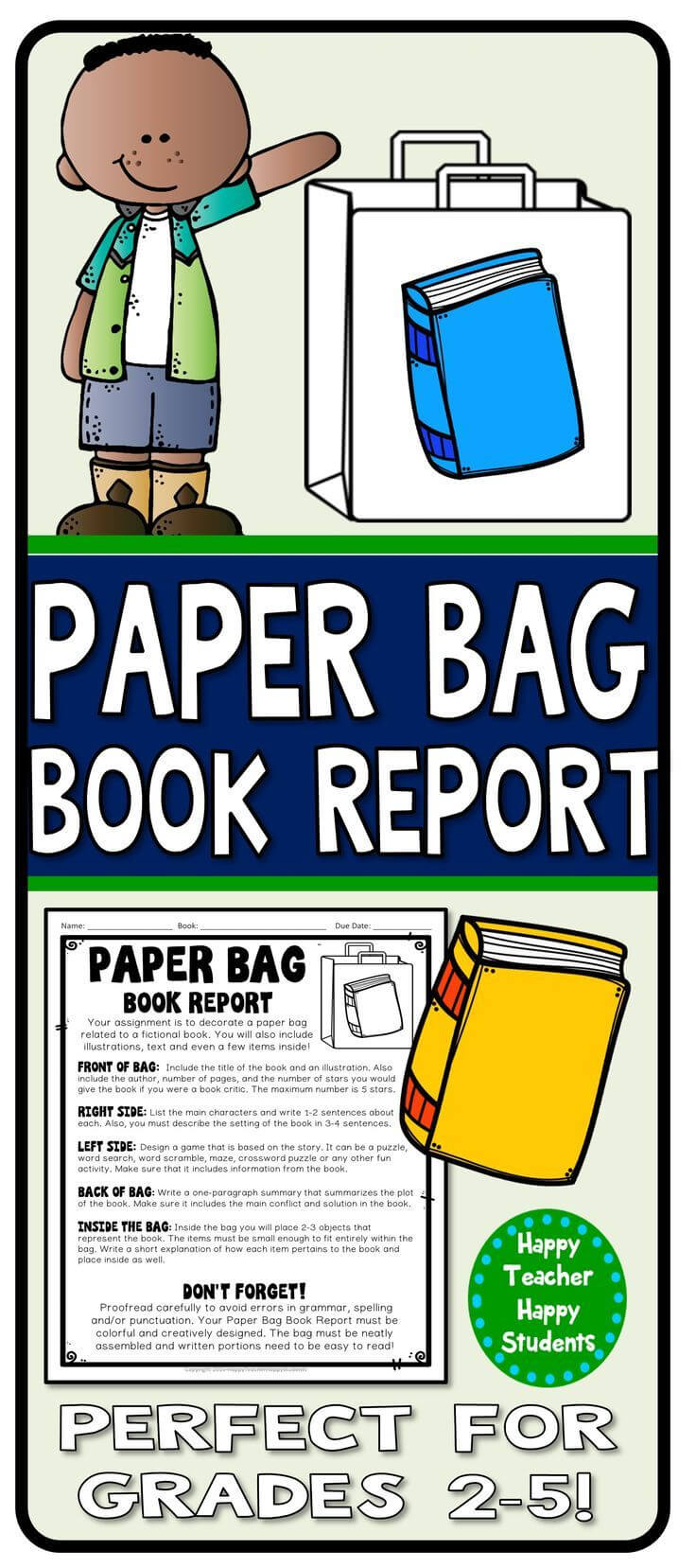 Paper Bag Book Report: Decorate A Paper Bag Based On A Intended For Paper Bag Book Report Template