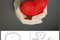 Paper Craft Hands With Heart, Papercraft 3D Wall Decor, Diy in 3D Heart Pop Up Card Template Pdf