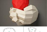 Paper Craft Hands With Heart, Papercraft 3D Wall Decor, Diy throughout 3D Heart Pop Up Card Template Pdf