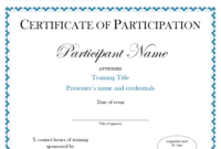 Participation Certificate Template Free Download | Sample With Participation Certificate Templates Free Download