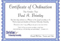 Pastoral Ordination Certificatepatricia Clay – Issuu intended for Certificate Of Ordination Template