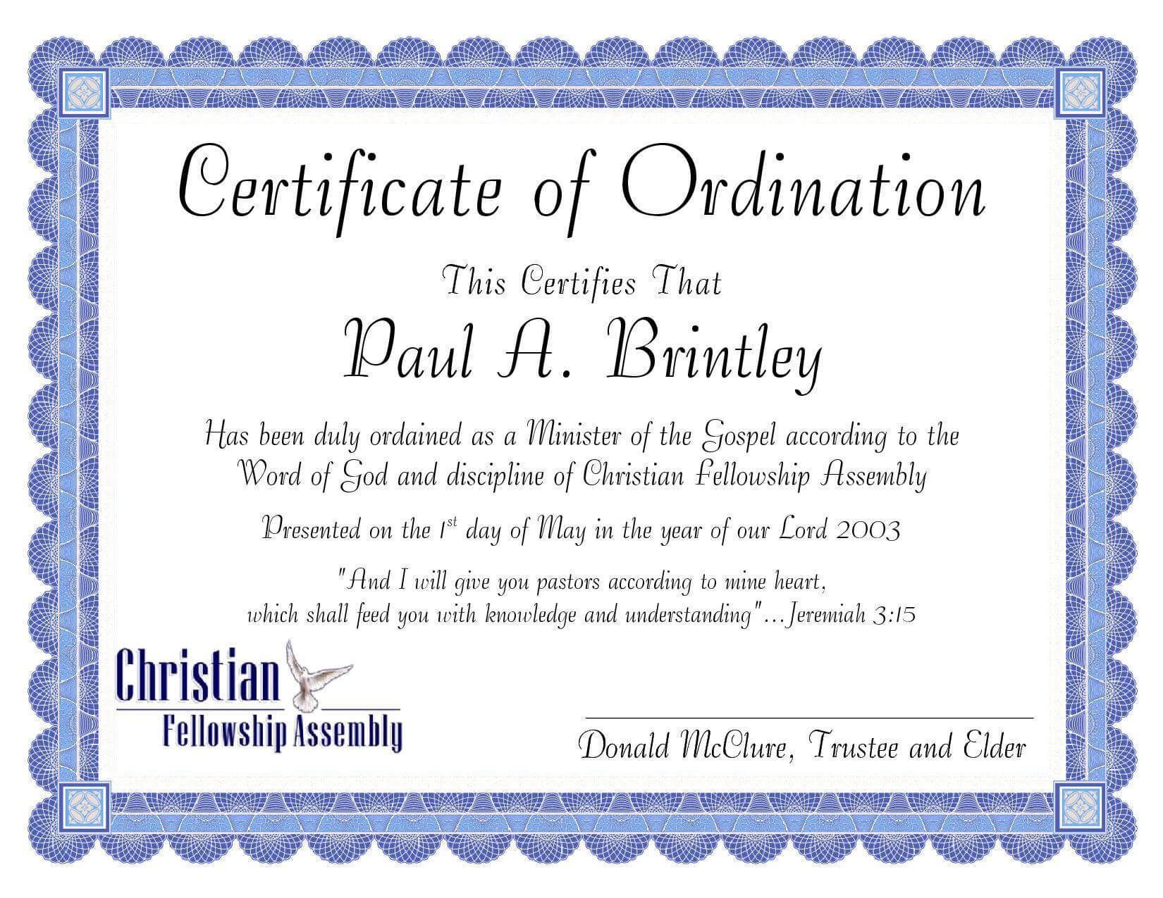 Pastoral Ordination Certificatepatricia Clay - Issuu Intended For Certificate Of Ordination Template