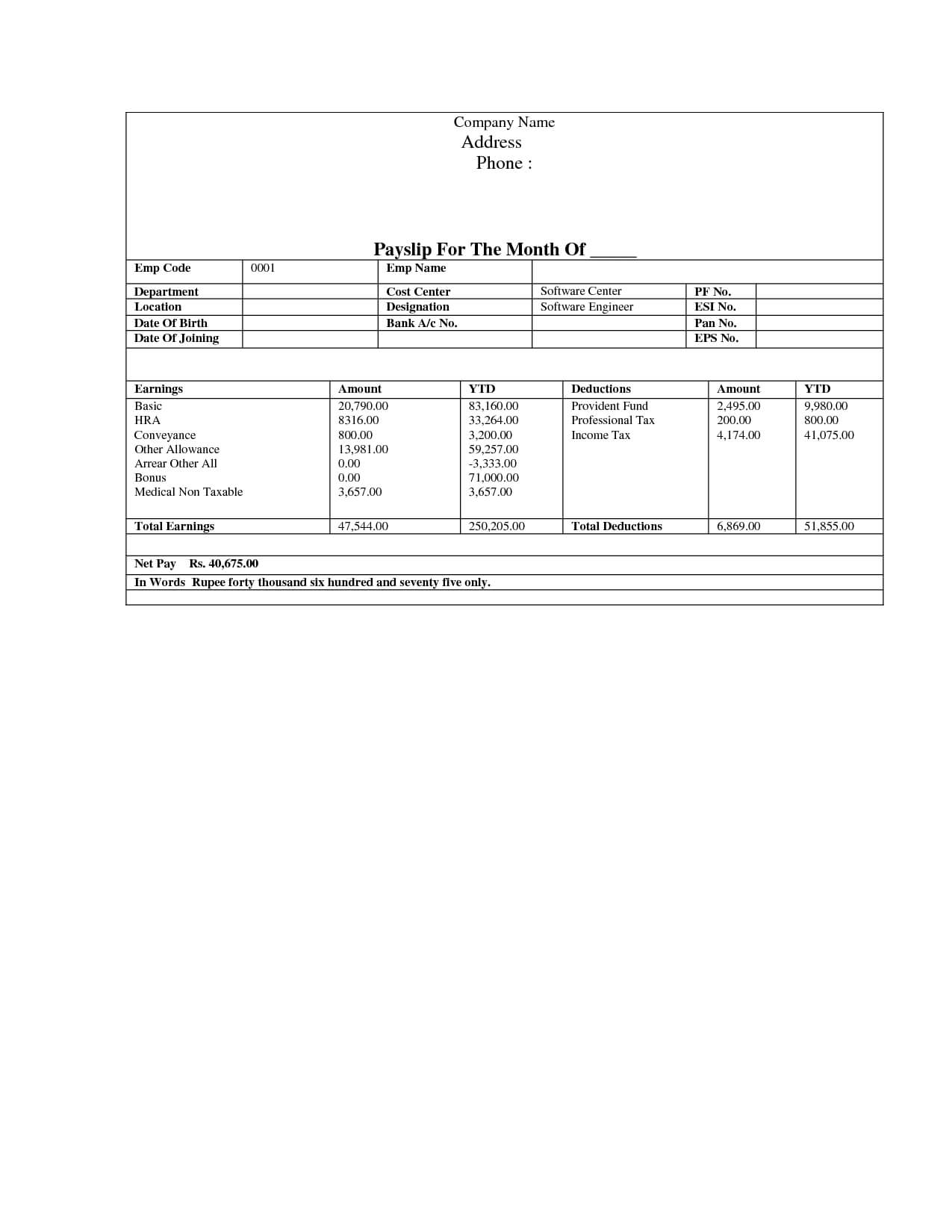 Pay Stub Template | Document Sample | Business Newsletter With Pay Stub Template Word Document