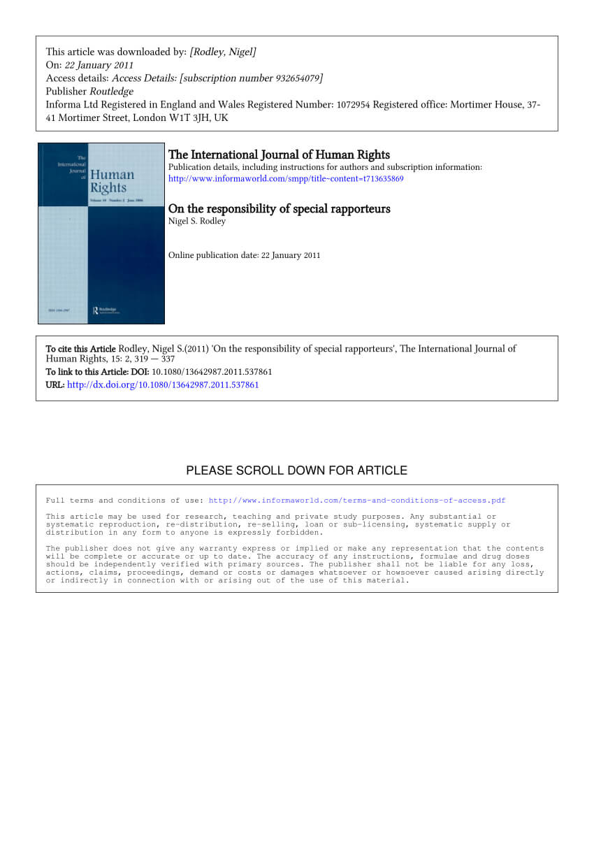 Pdf) On The Responsibility Of Special Rapporteurs Regarding Rapporteur Report Template