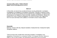 Pdf) Procedural Fairness In Workplace Investigations in Sexual Harassment Investigation Report Template