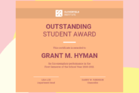 Peach Student Award Certificate Template with regard to Student Of The Year Award Certificate Templates