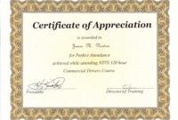 Perfect Attendance Award Certificate Template in Best Teacher Certificate Templates Free