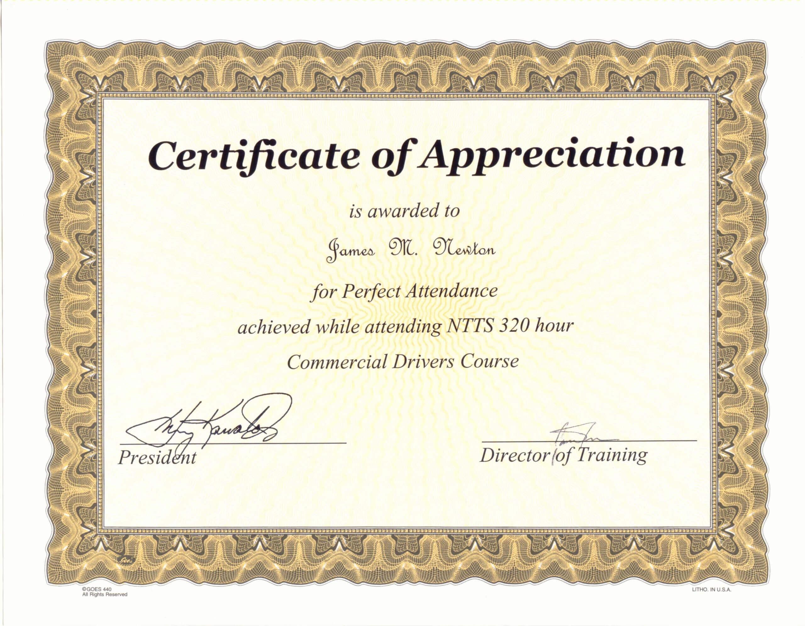 Perfect Attendance Award Certificate Template With Perfect Attendance Certificate Template