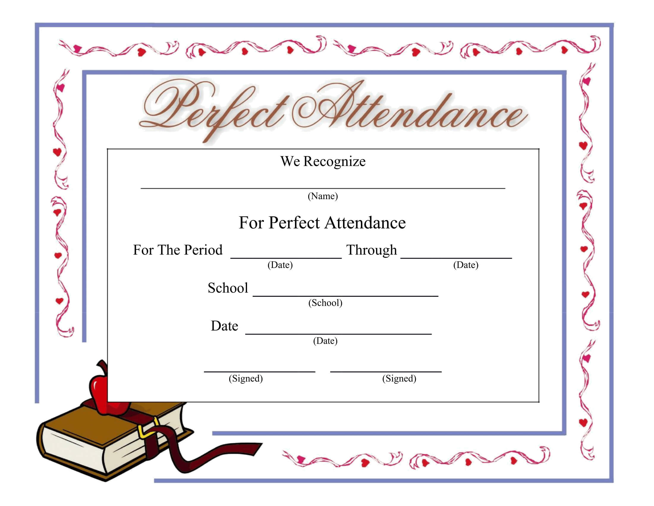 Perfect Attendance Certificate - Download A Free Template Within Perfect Attendance Certificate Template