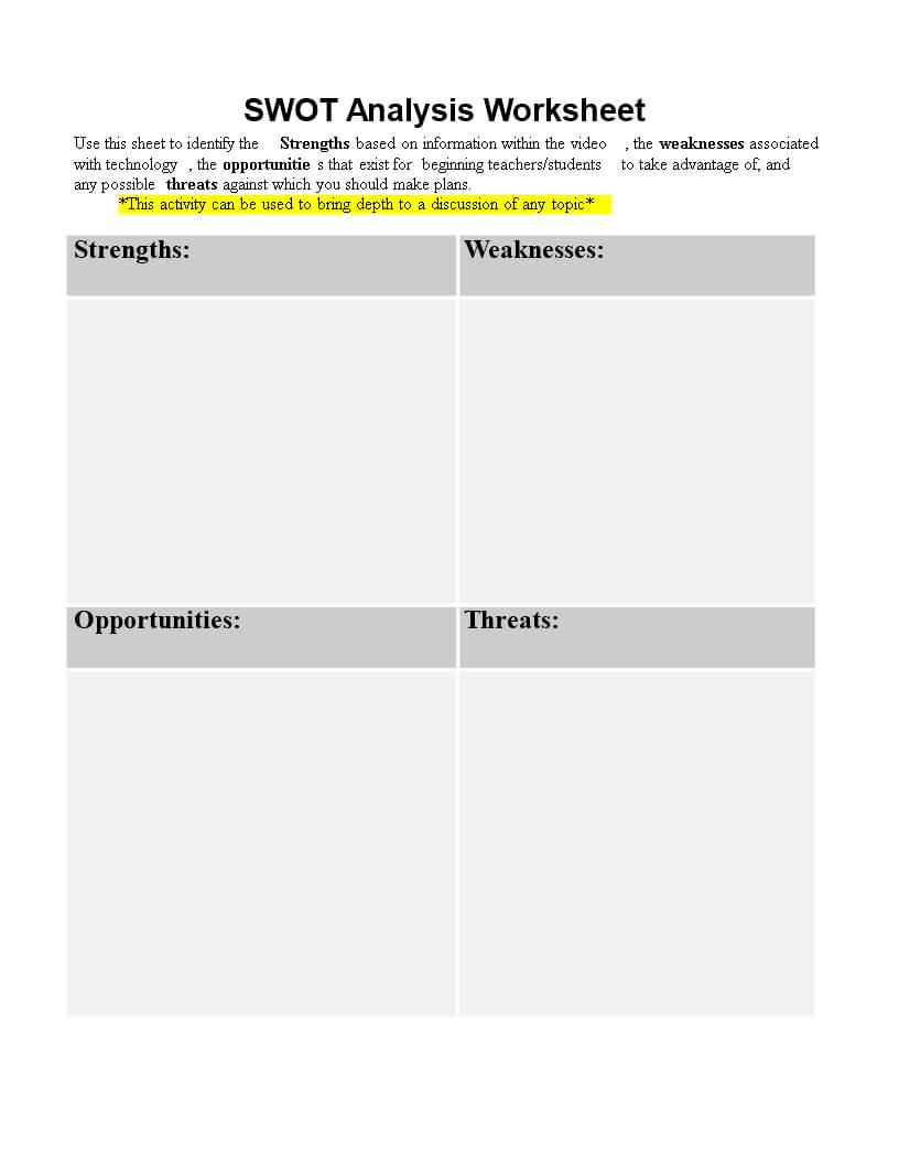 Personal Swot Analysis Worksheet Word | Templates At Regarding Swot Template For Word