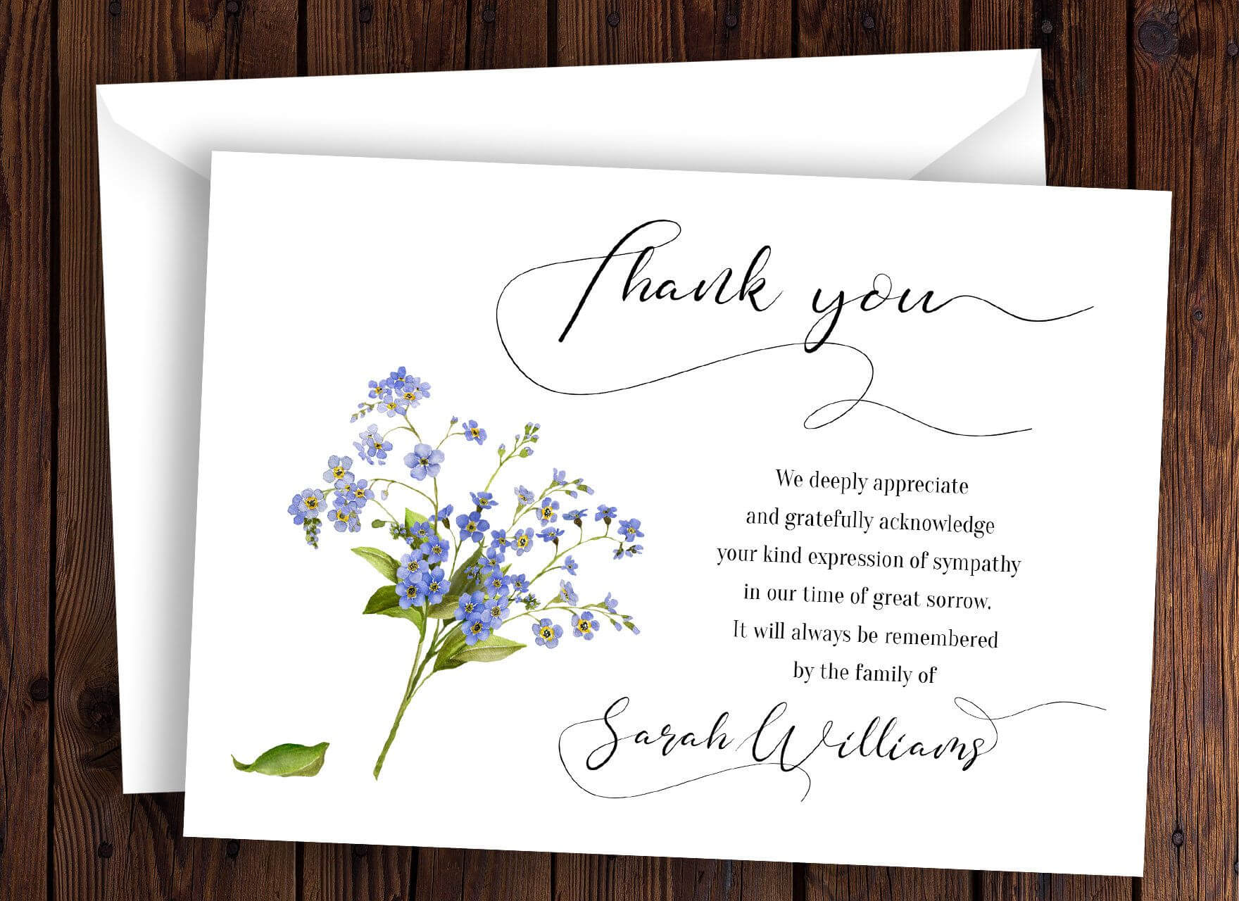 Personalized Funeral Thank You Card Sympathy Thank You Card Intended For Sympathy Thank You Card Template