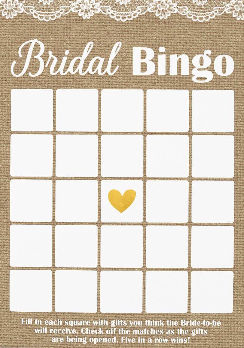 Pin On Bridal Shower For Blank Bridal Shower Bingo Template