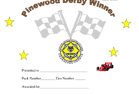 Pin On Cub Scouts with regard to Pinewood Derby Certificate Template