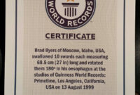 Pinbrad Byers On Brad Byers World Record Certificates regarding Guinness World Record Certificate Template