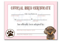 Pink Dachshund Birth Certificate | Dachshund Adoption, Birth with regard to Pet Adoption Certificate Template
