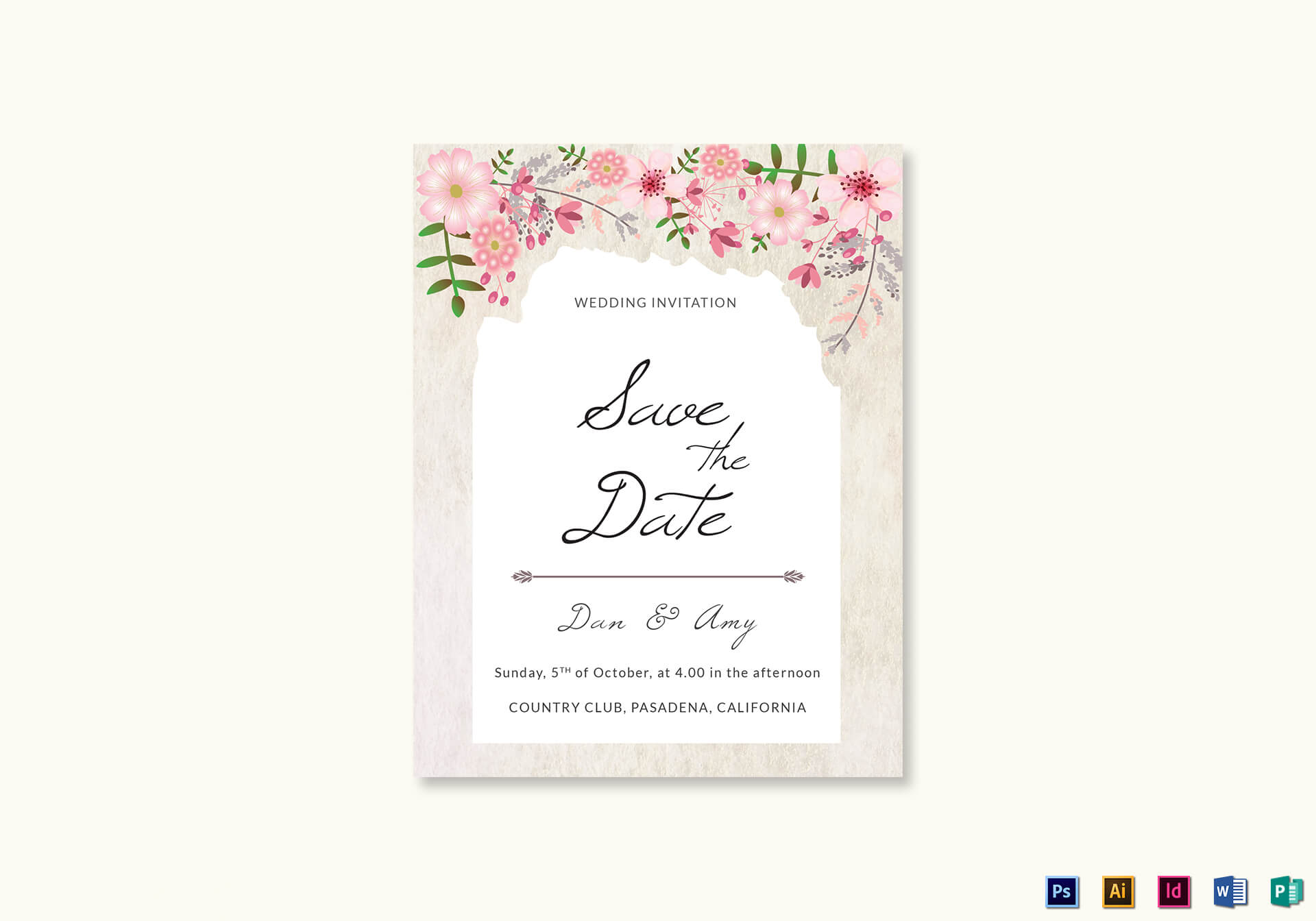 Pink Floral Save The Date Card Template Inside Save The Date Template Word