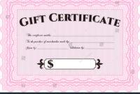 Pink Gift Certificate Template Stock Vector (Royalty Free throughout Pink Gift Certificate Template