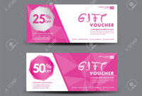 Pink Gift Voucher Template, Coupon Design, Certificate, Ticket.. regarding Pink Gift Certificate Template