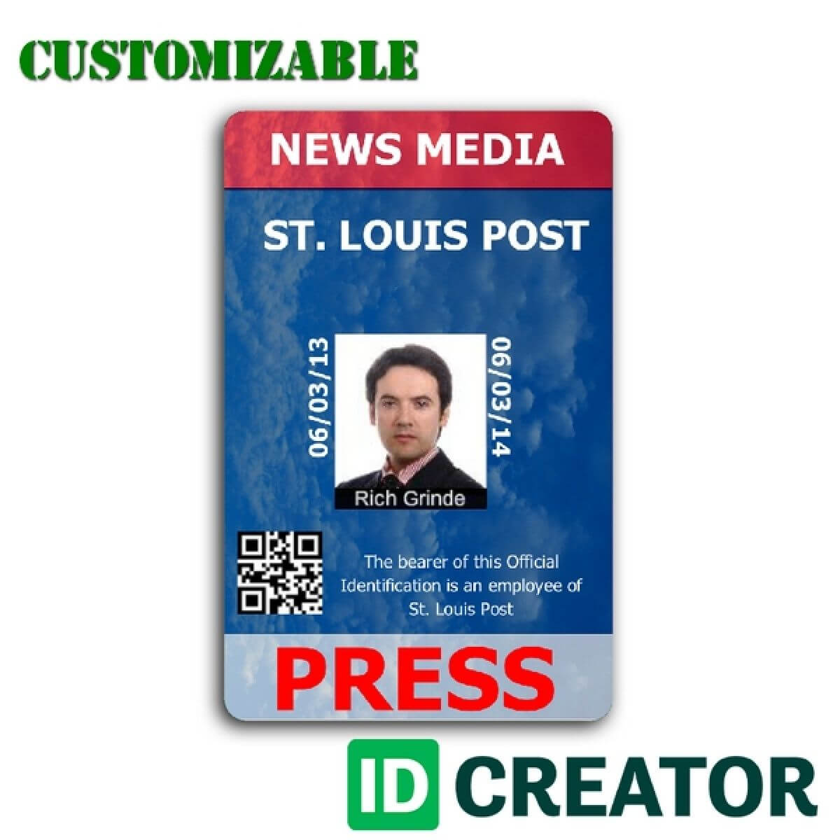 Pinrandell Fisco On Saved | Id Card Template, Id Badge For Media Id Card Templates