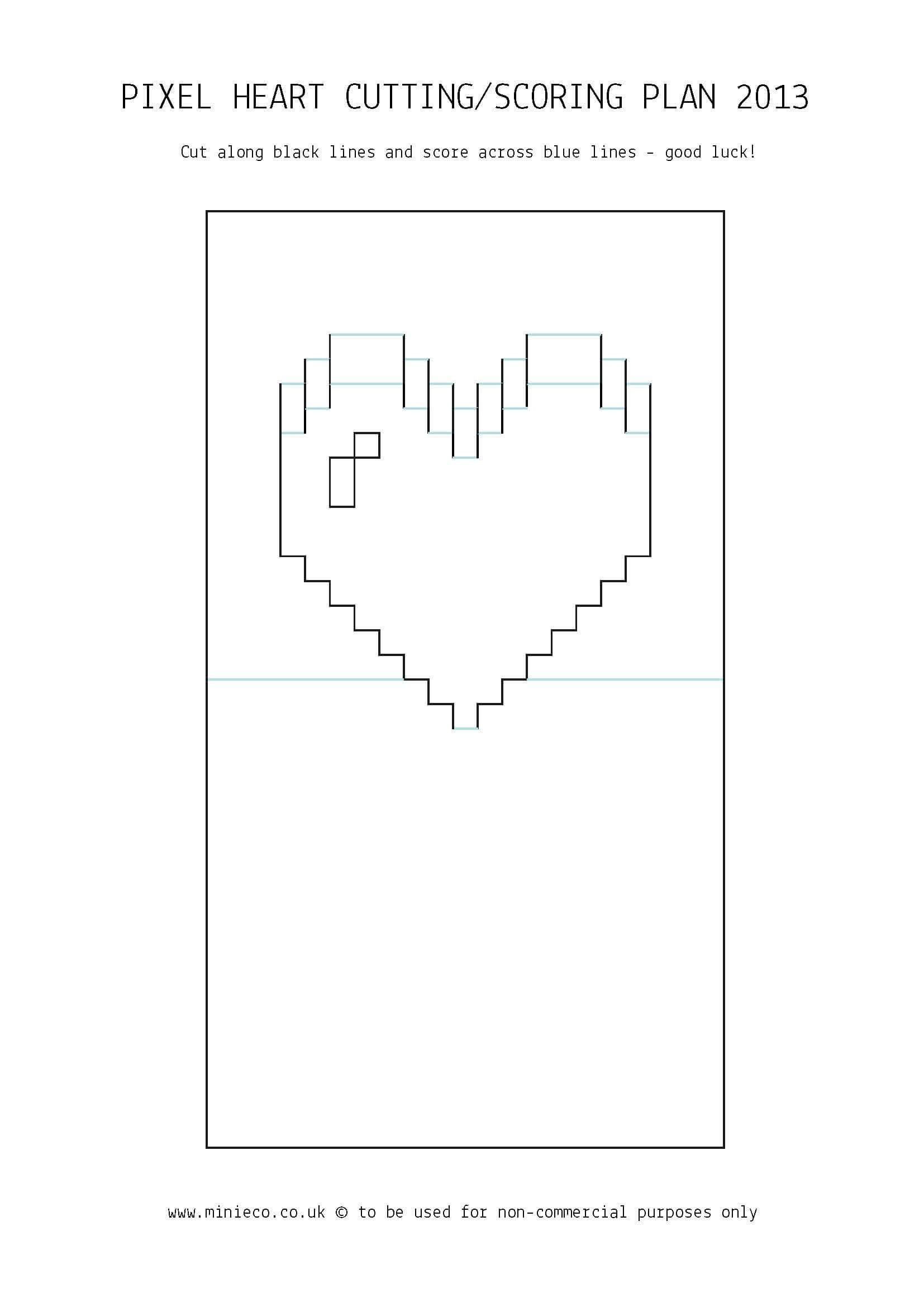 Pixel Heart Pop Up Card   Pop Up Card Templates, Heart Pop In Pixel Heart Pop Up Card Template