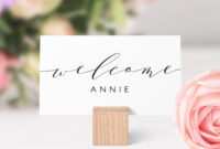 Place Cards Printable Template, Flat And Folded Welcome in Place Card Setting Template