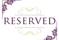 Popular Reserved Table Signs For Wedding – Innovative Design In Reserved Cards For Tables Templates