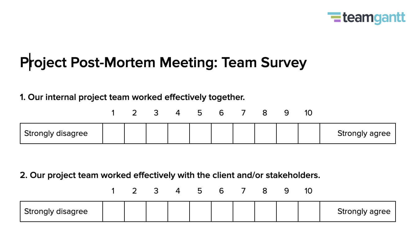 Post Mortem Meeting Template And Tips   Teamgantt In Post Project Report Template