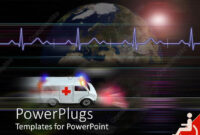 Powerpoint Template: Healthcare Medical Theme With Speeding with Ambulance Powerpoint Template