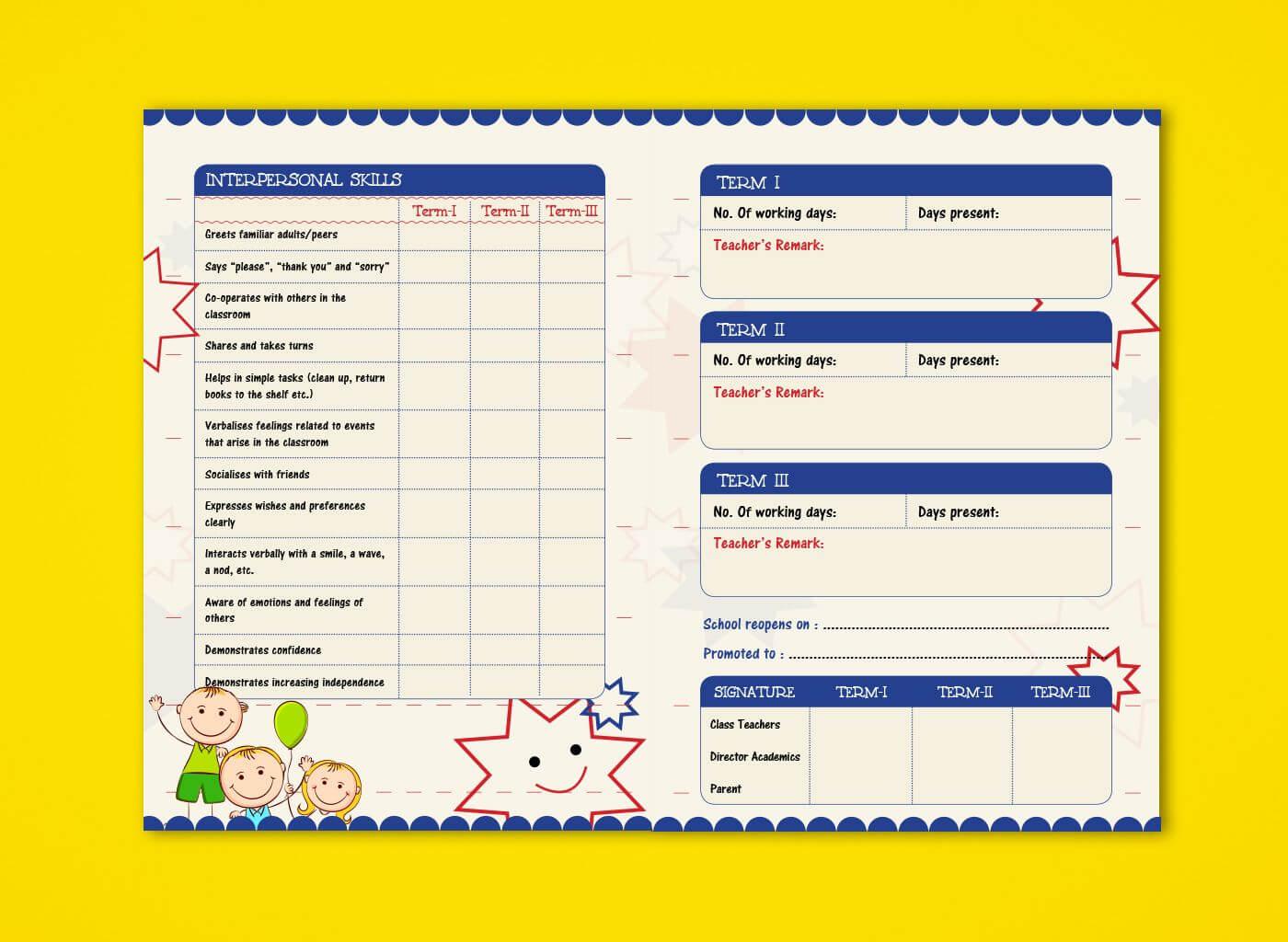Pre Nursery Report Card On Behance | Kindergarten Report Within Boyfriend Report Card Template