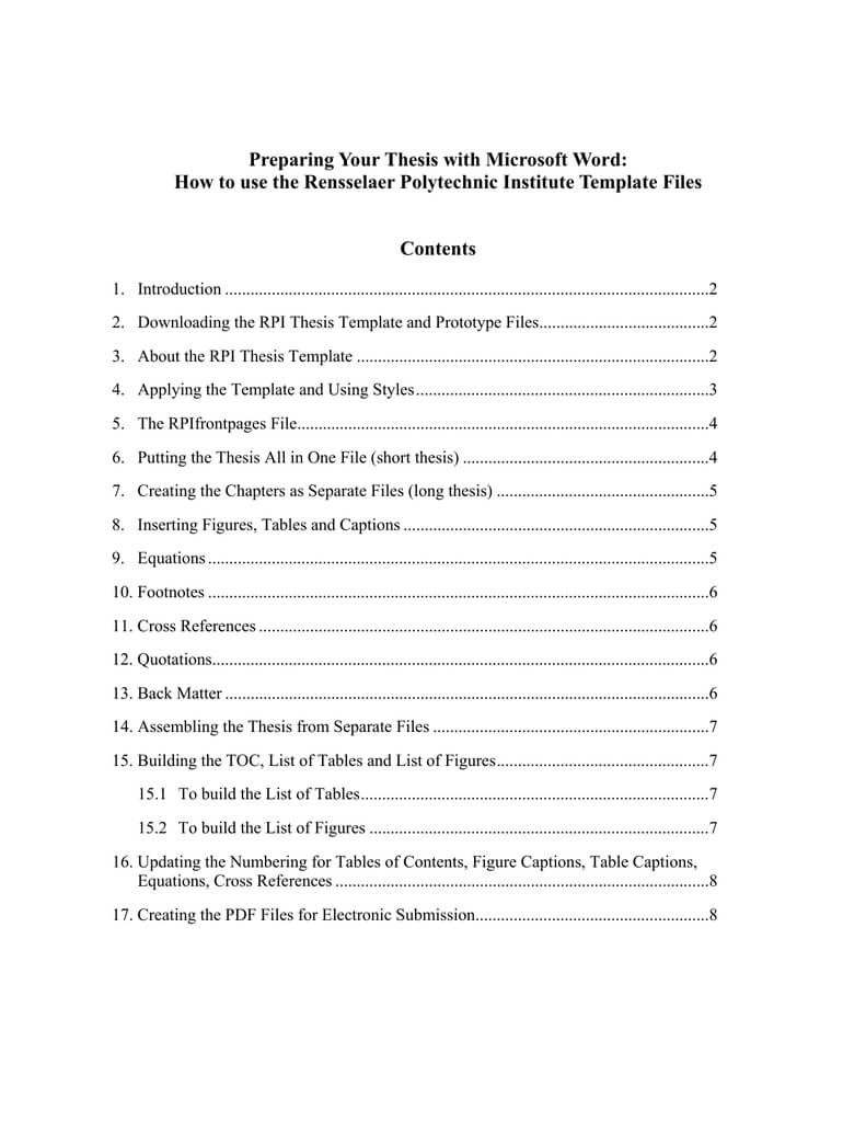Preparing Your Thesis With Microsoft Word: | Manualzz With Regard To Ms Word Thesis Template