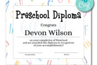 Preschool Diploma Certificate | Certificates | Printable for Hockey Certificate Templates