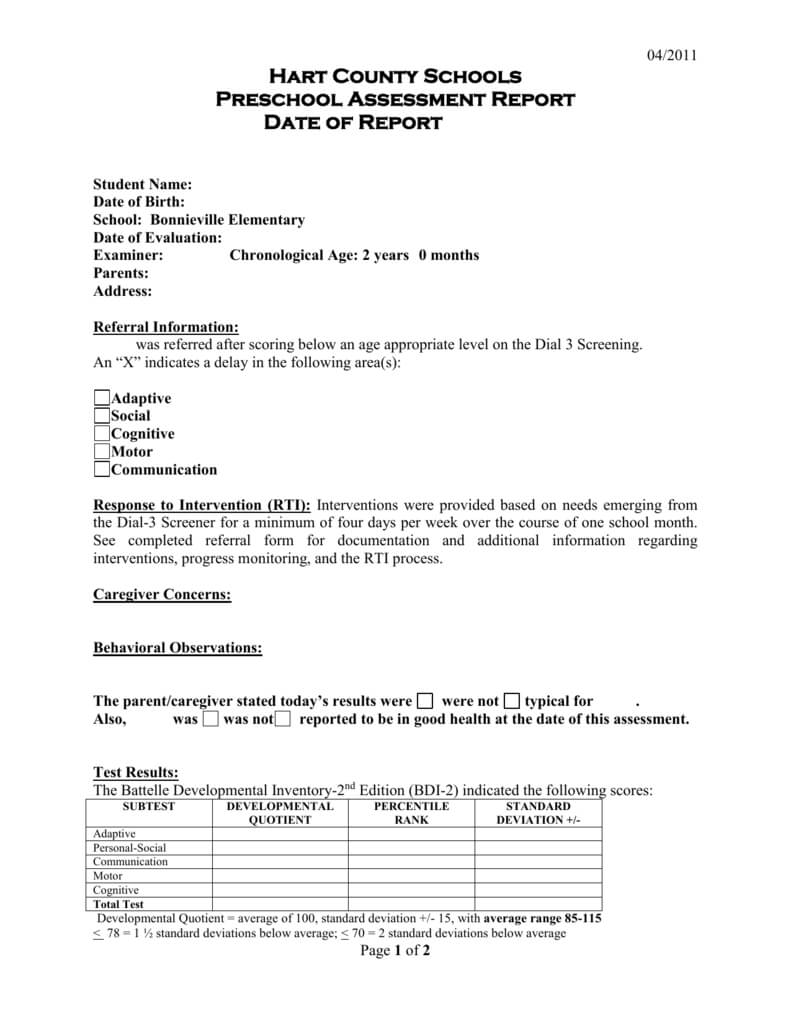 Preschool Evaluation Report Template For Monitoring And Evaluation Report Template