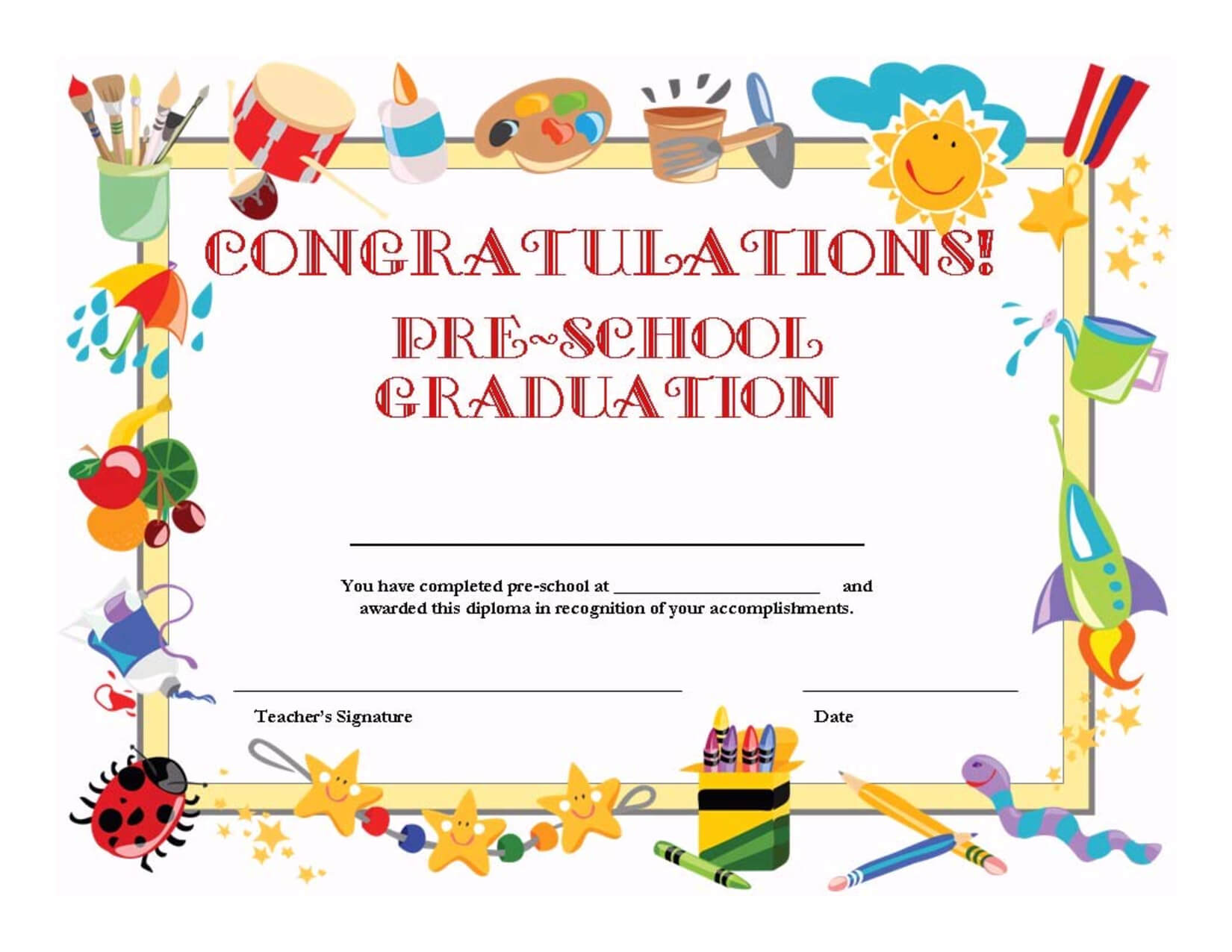 Preschool Graduation Certificate Template Free | Graduation With Certificate Templates For School