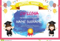 Preschool Kids Diploma Certificate Colorful Background with Children's Certificate Template