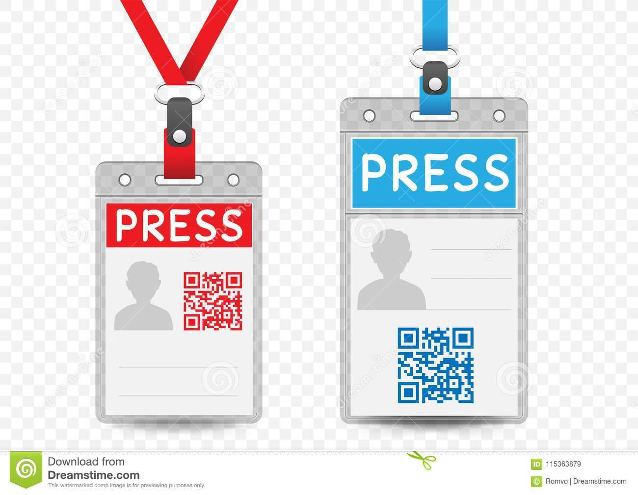 Press Vertical Badge Template Stock Vector – Illustration Of With Regard To Media Id Card Templates