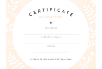 Pretty Fluffy in Toy Adoption Certificate Template