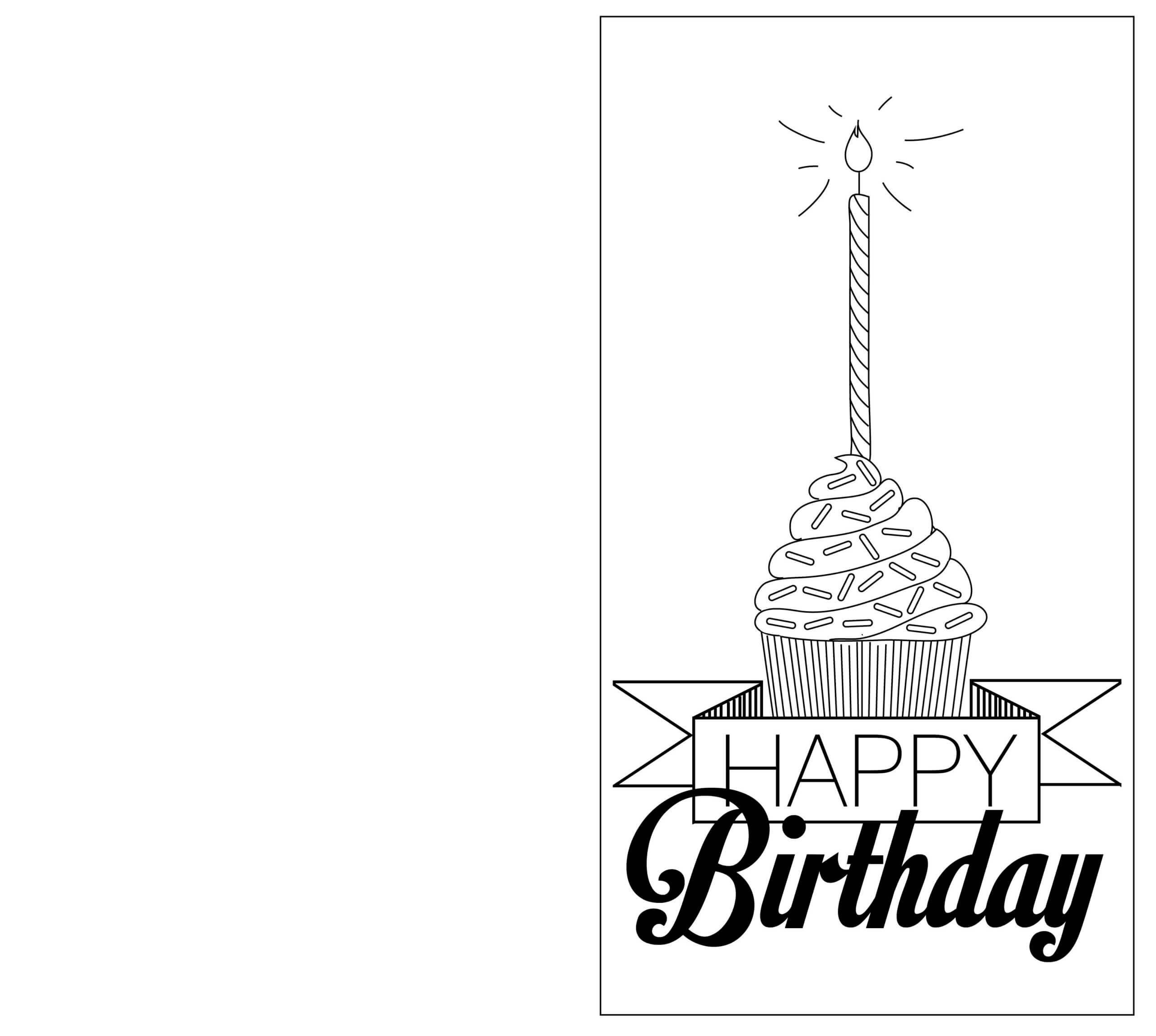 Print Out Black And White Birthday Cards | Birthday Card With Regard To Foldable Birthday Card Template
