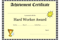 Printable Achievement Certificates Kids | Hard Worker in Pages Certificate Templates