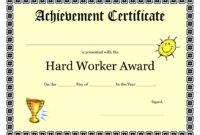 Printable Achievement Certificates Kids | Hard Worker inside Free Student Certificate Templates