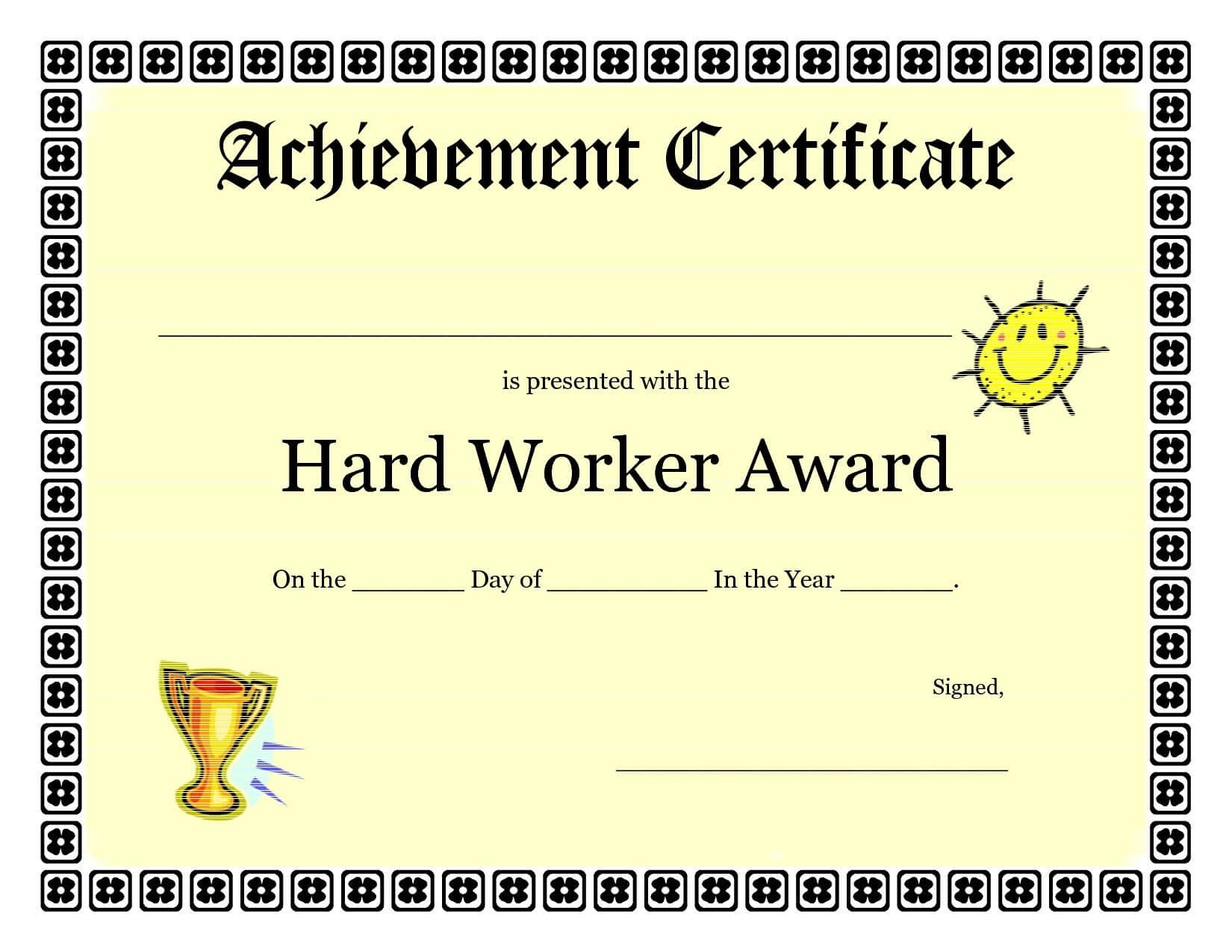Printable Achievement Certificates Kids | Hard Worker Inside Student Of The Year Award Certificate Templates