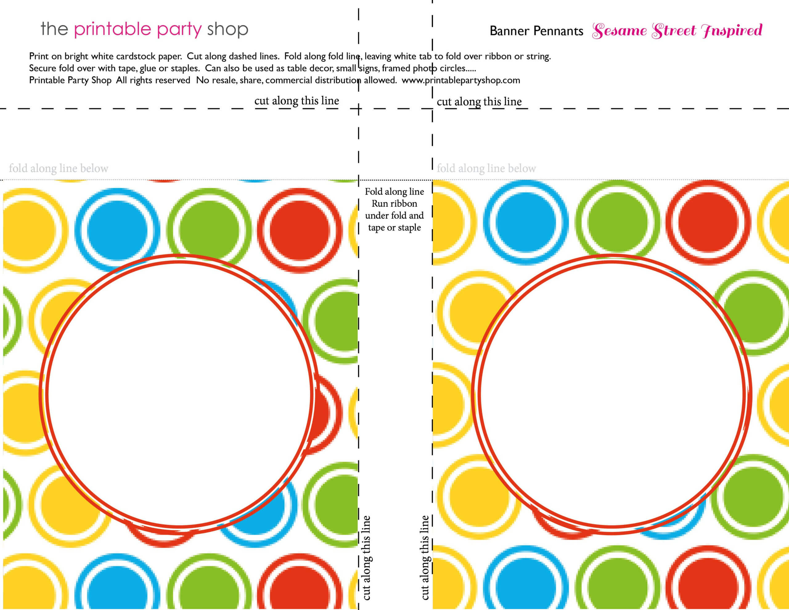 Printable Banners Templates Free | Banner Squares Big Dots With Regard To Sesame Street Banner Template