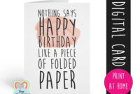 Printable Birthday Card Template Funny Birthday Card Instant Intended For Foldable Birthday Card Template
