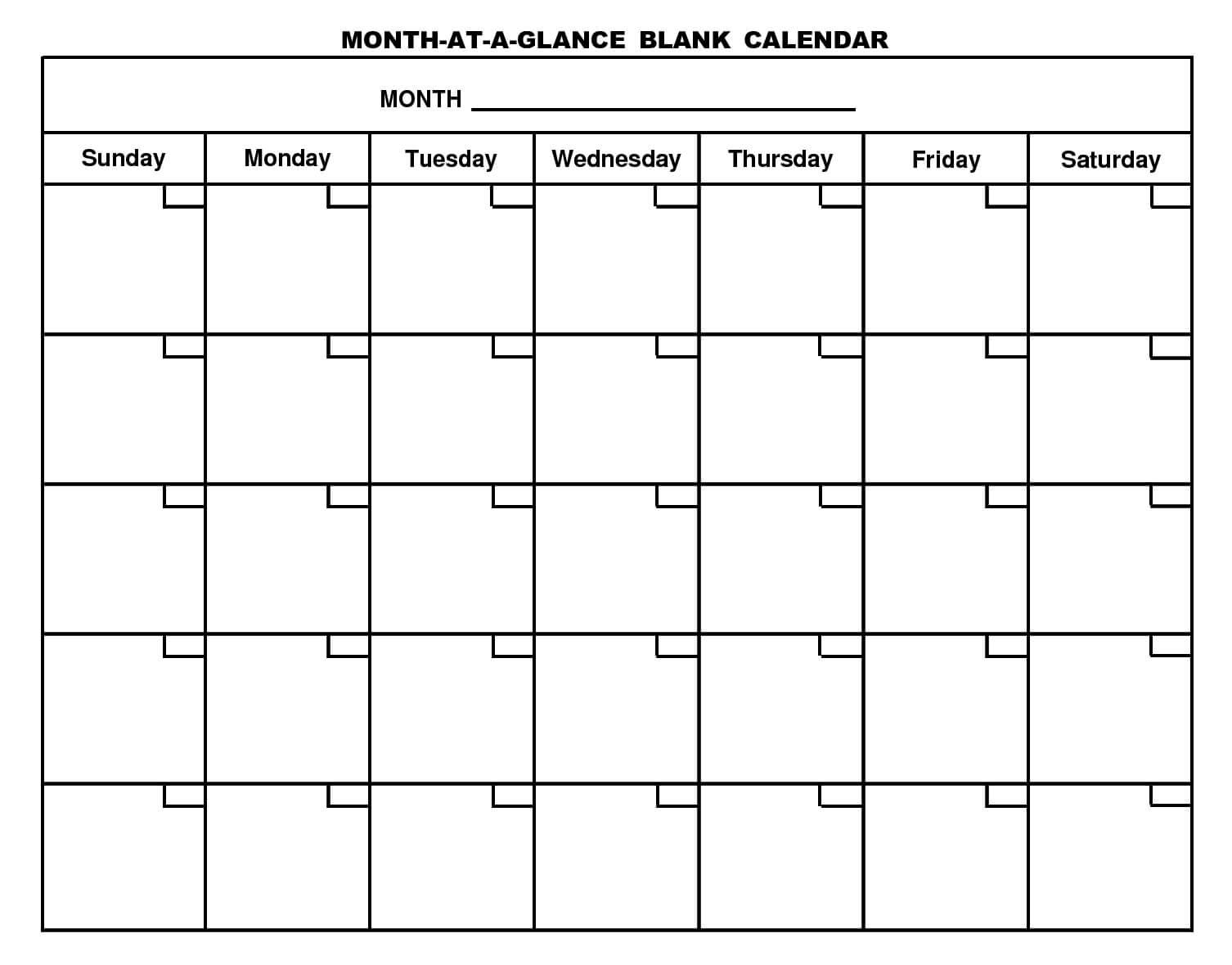 Printable Blank Calendar Template … | Free Printable Intended For Blank One Month Calendar Template