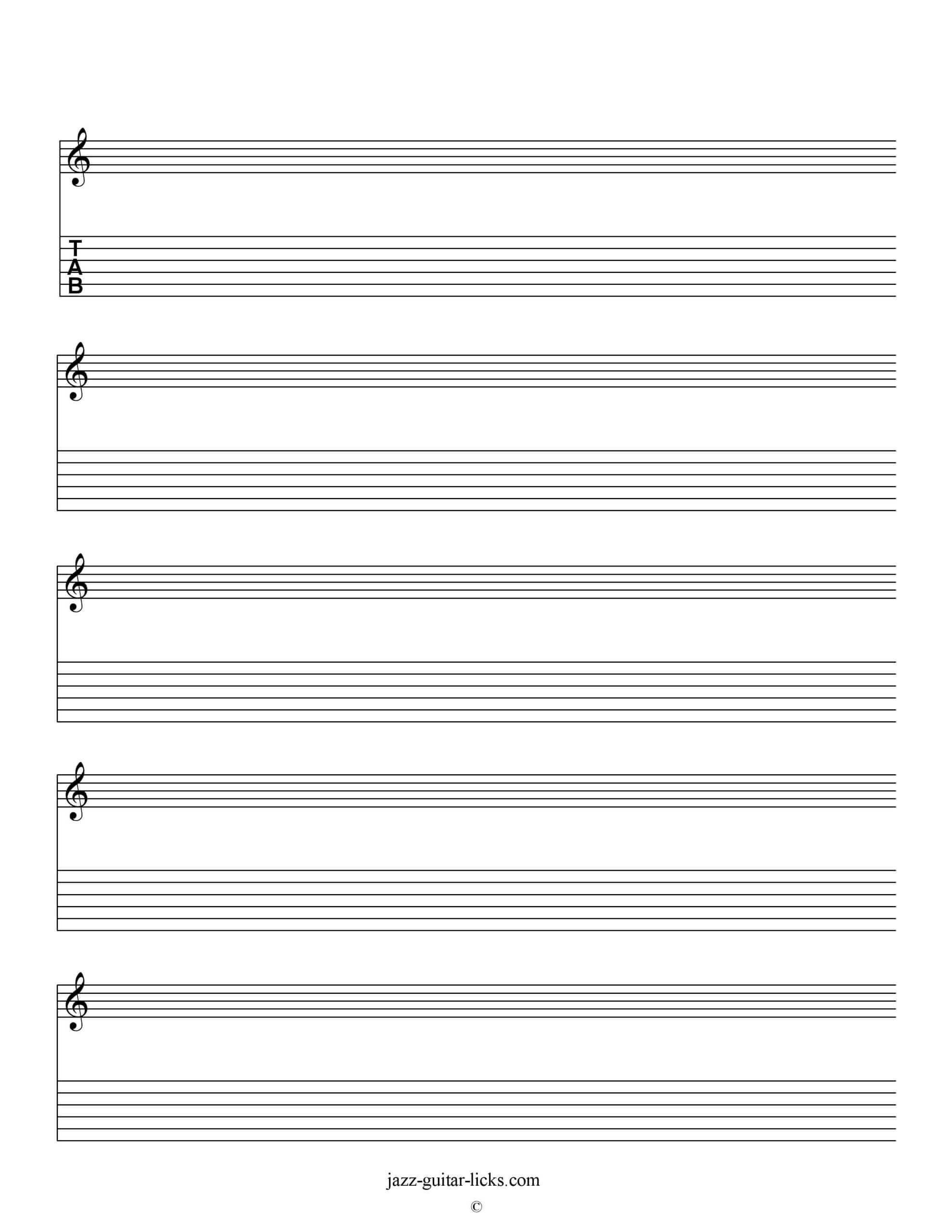 Printable Blank Staves And Tabs - Free Music Sheet | Jazz Throughout Blank Sheet Music Template For Word