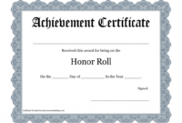 Printable-Certificate-Pdfs-Honor-Roll | Printable with Honor Roll Certificate Template
