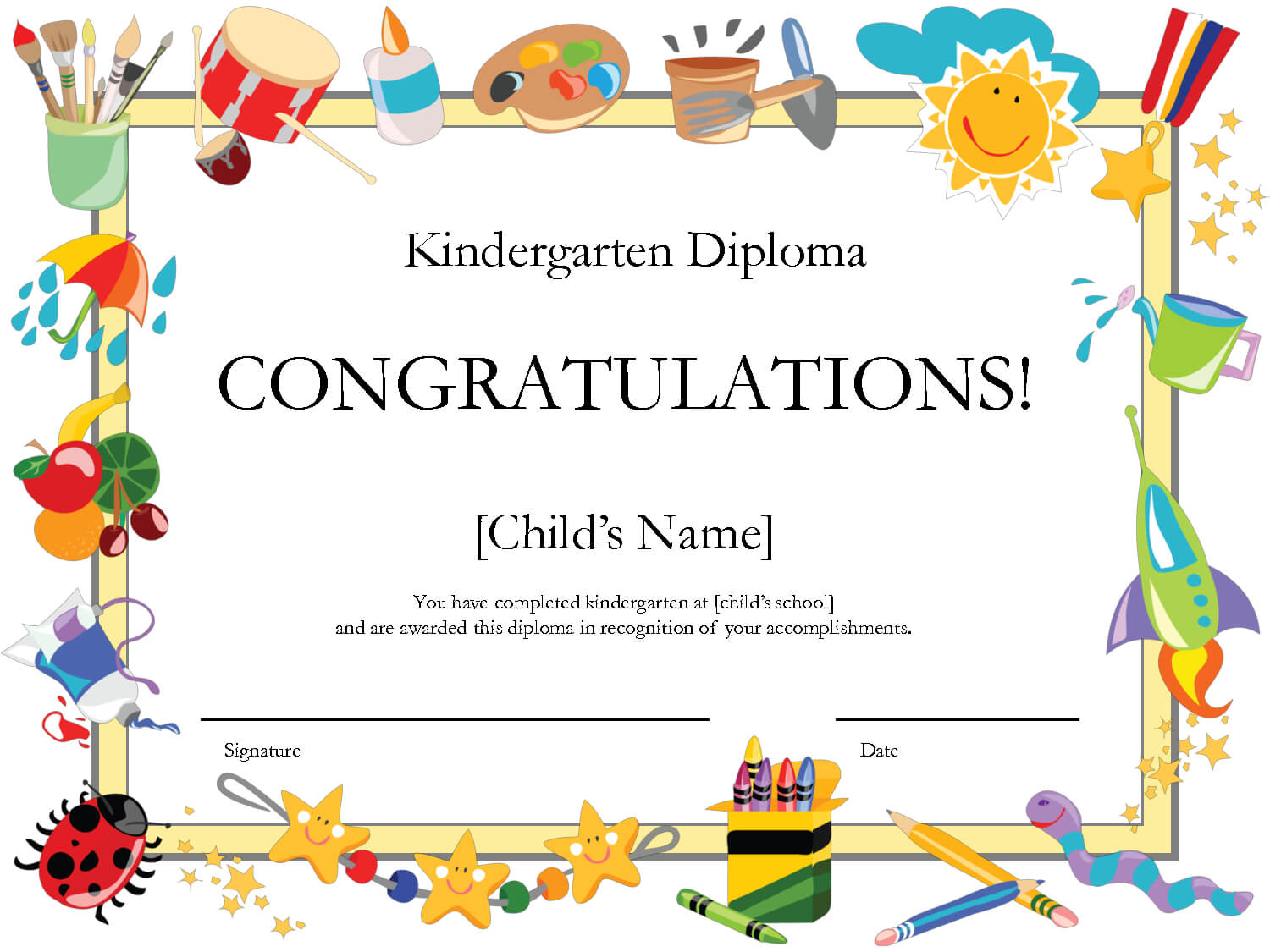 Printable Certificates | Printable Certificates Diplomas With Children's Certificate Template