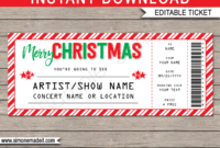 Printable Christmas Gift Concert Ticket Template | Gift in Movie Gift Certificate Template